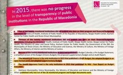 In 2015, there was no progress in the level of transparency of public institutions in the Republic of Macedonia