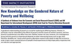 Gendered Nature of Poverty & Wellbeing - New Research Report