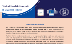 Global Health Summit 2021 Ends with Rome Declaration
