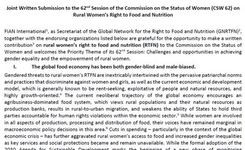 Women's Right to Food & Nutrition - Rural Women, All Women