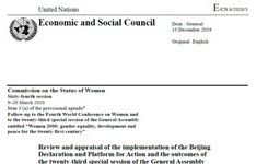 Beijing + 25 Implementation - Report of the UN Secretary-General