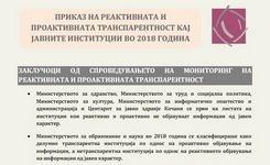 Приказ на реактивната и проактивната транспарентност кај јавните институции во 2018 година