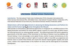 UNCSW64 Global Union Statement