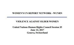 UN Expert on Human Rights of Older persons Urges Action to End Abuse of Older Persons by Relatives + Power Point on Violence Against Older Women