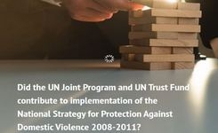 Did the UN Joint Program and UN Trust Fund contribute to implementation of the National Strategy for Protection Against Domestic Violence 2008-2011?