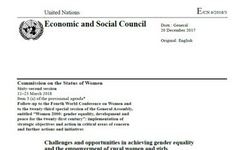 UN Secretary-General: Challenges & Opportunities in Achieving Gender Equality & Empowerment of Rural Women & Girls