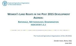 Women's Land Rights in the Post 2015 Development Agenda - FAO